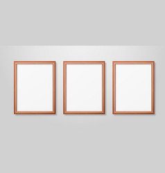 3d realistic three a4 brown wooden simple vector image
