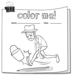 A worksheet with a tired man vector image