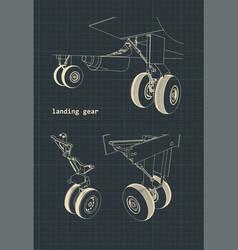 Airplane landing gear drawings vector