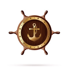 anchor image on a wooden steering wheel vector image