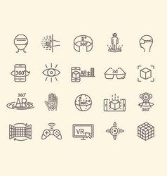 Ar and vr line icon set vector