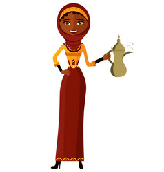 Arab woman holding an arabic coffee pot vector