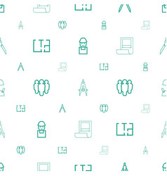 Architect icons pattern seamless white background vector