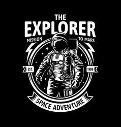 Astronaut in space badge vector