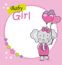 baby shower card cute elephant with heart-shaped vector image