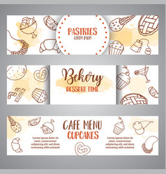 bakery horizontal banners with pastries sweet vector image