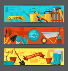 Banners with garden tools and icons all vector