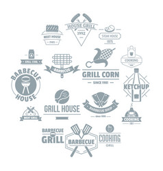 barbecue grill logo icons set simple style vector image