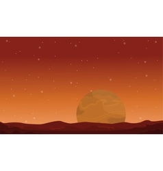 Big planet on space landscape vector