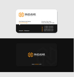 black business card yellow letter n solar energy vector image