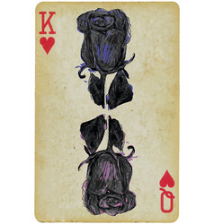 Black rose on a playing card - an hand drawn vector