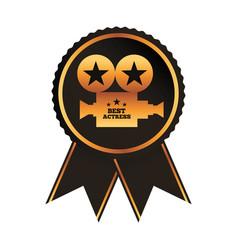 Black rosette award best actress gold projector vector