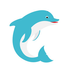 blue dolphin jumps vector image