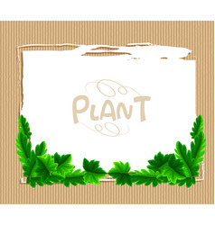 Border template with green leaves vector