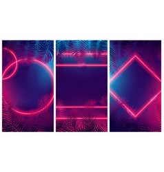 Bright red glow from geometric shapes neon vector