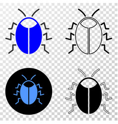 Bug eps icon with contour version vector