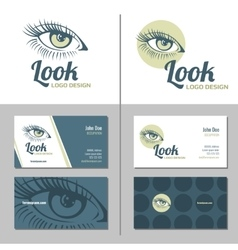 Business card with woman eye logo template vector