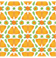 butterflies and flowers floral folk pattern vector image