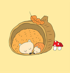 Cartoon cute autumn hedgehogs sleeping vector