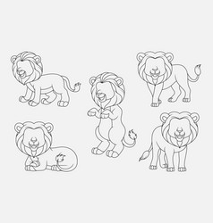 cartoon lion thin lines collection isolated on whi vector image