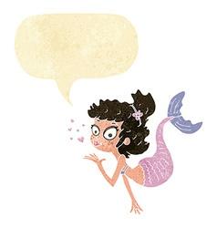 Cartoon pretty mermaid with speech bubble vector