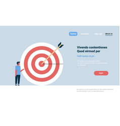 casual man standing target arrow goal success vector image