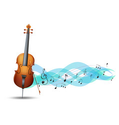 Cello and music notes in background vector