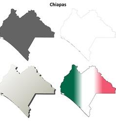 Chiapas blank outline map set vector