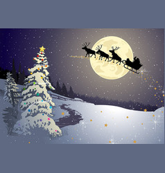 christmas background with night winter landscape vector image