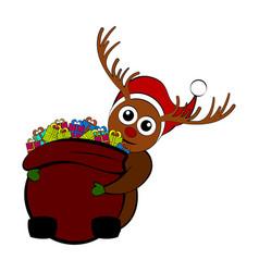 christmas reindeer holding a present bag vector image