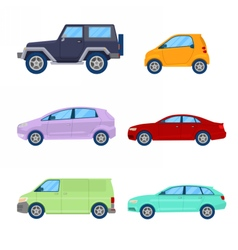 City Cars Icons Set with Sedan Van vector image