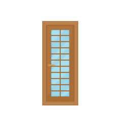 classic door with glass on white background vector image