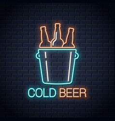 Cold beer neon banner beer bottles neon sign on vector