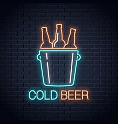 Cold beer neon banner beer bottles neon sign vector