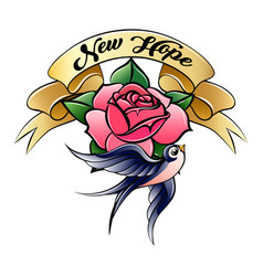 colorful tattoo with swallow rose and ribbon vector image