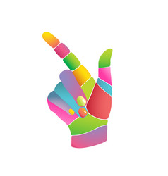 Colourful abstract pop art hand pointing side vector