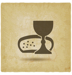 communion symbol wine and bread vintage background vector image