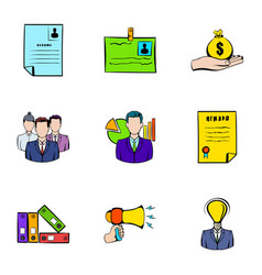 contract icons set cartoon style vector image
