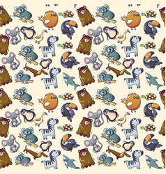 Cute animal pattern seamless cartoon style vector