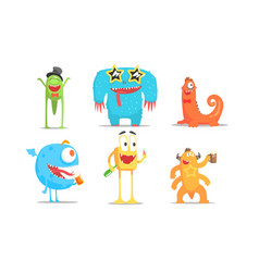 cute cartoon monsters characters set funny party vector image