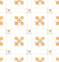 Dashed squares with orange flowers pattern vector