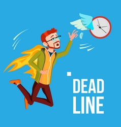 deadline businessman in fire catching by vector image