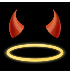 devil horns and angel halo vector image