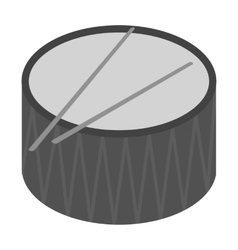 Drum icon in monochrome style isolated on white vector image