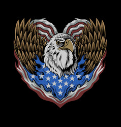 eagle with flag united states forms vector image