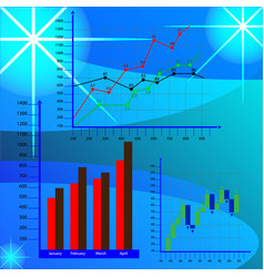 economic charts business charts vector image