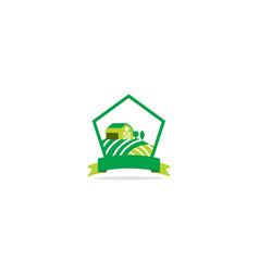 Farm house landscape logo vector