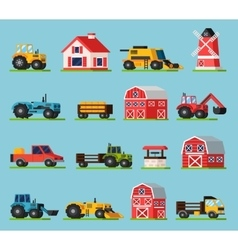 Farm Orthogonal Flat Icons Set vector