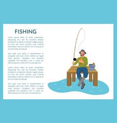 Fishing poster with fisherman vector