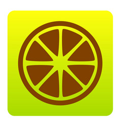 fruits lemon sign brown icon at green vector image